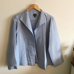 Eileen Fisher blue silk pleated blazer